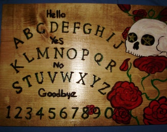 "hand made wooden ouija spirit talking board "" day of the dead"""