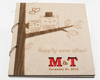 Wedding Guest Book with Cute Owls Design or Bridal Shower Advice Book