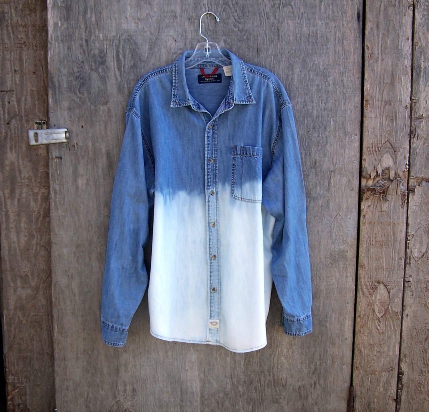 LEVIS denim shirt long sleeve ombre half bleached jean jacket