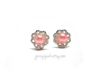CLEARANCE - Pretty In Pink Pearl Post Earrings - Filigree and Pearl - Gifts for Her - Gifts Under 15 - 10mm Round - Stud Earrings