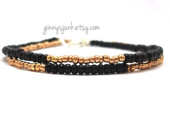 Black and Gold Seed Bead Bracelets - Set of 2 - Black with Gold - Gold With Black - Minimalist Jewelry