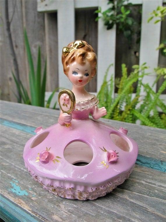 Vintage Lipstick Holder Arnart Ceramic Girl With Mirror