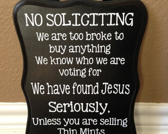 Popular items for funny no soliciting on etsy - Funny soliciting signs ...