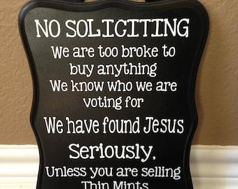No Soliciting Sign Etsy