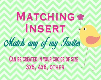 Matching Insert - Printable - Insert Matching Printable - Personalized Message - Made to Match any Card in my Shop - Matching Insert