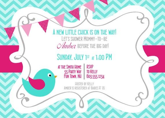 Baby Shower Invitation Girl Bird Baby Shower Invitations