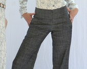 Tailored Wide-Leg Trouser w.Quilt-Stitched Waist in Charcoal Denim. Good-Ass Jeans.