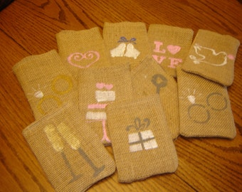 Set of TEN Burlap Gift Favor Bags wih Hand Painted Wedding Symbols..........Custom Made