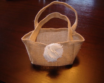 Burlap Gift Favor Bag With Burlap Flower ...Custom Made