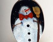 Handpainted Snowman on Vintage Spoon Ornament