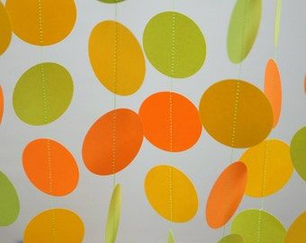 Citrus Birthday Garland, Bright Orange, Green & Yellow Paper Garland, 10 ft. long strand