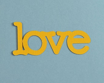 "Die cut words ""LOVE"" - warm yellow, set of 5, table confetti, scrapbooking"