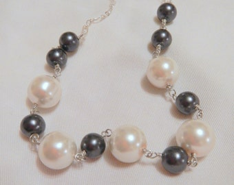 Black and White Pearl Necklace, Silver Necklace