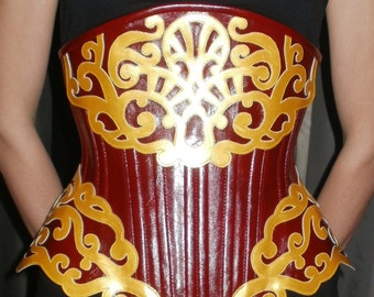 Red and Gold Faux Leather Under-Bust Corset