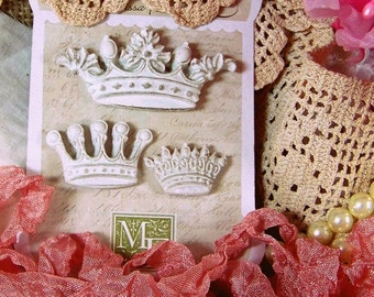 Melissa Frances Resin Crowns,Crown Sets, Shabby Style Crowns, Cottage Chic, White Crowns, Distressed Crowns, Scrapbook Crown Set, Scrapbook