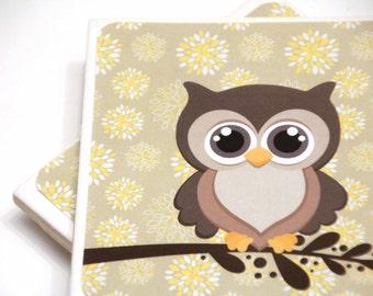 Owl Coasters set of 4, owl decor, hootie owl, ready to ship