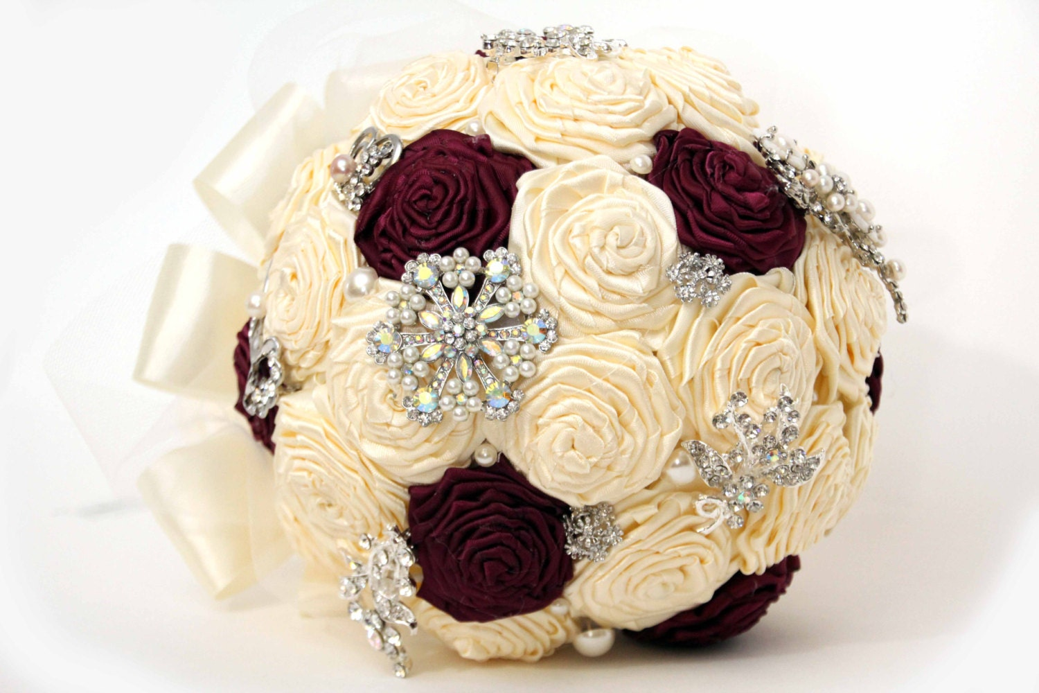 Bridal Bouquet Out Of Ribbons : Bridal brooch bouquet ribbon rose ready to ship by