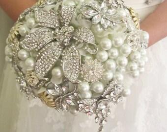 Brooch bouquet, Brooch and pearl bouquet, Alternative bridal bouquet,Custom bouquet - Deposit brooch bouquet