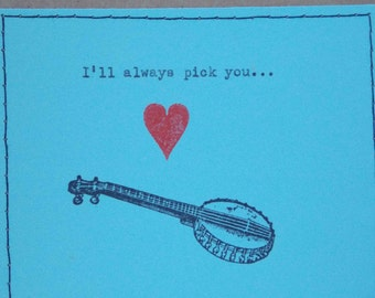 Banjo Funny Love card Banjo card card for him banjo lover card Banjo music card for Banjo lovers musician music love card anniversary card