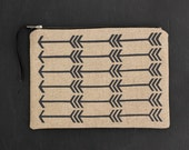 Charcoal Feather arrow - screen printed and handmade flat zip pouch