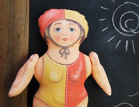 surf lifesaver painted doll - soft sculpture