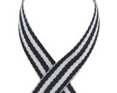 "3/8"" Striped Grosgrain Ribbon - NAVY - 5 Yards"