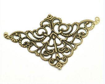 12pc antique bronze 5X3.2CM triangular filigree wraps-899K