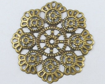 10pc 54mm antique bronze metal filigree center piece/wraps-6903