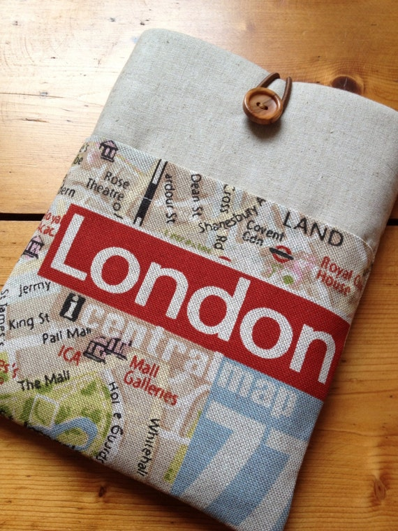 KINDLE Touch, Kindle 4 e reader Sleeve in London, England Map Fabric