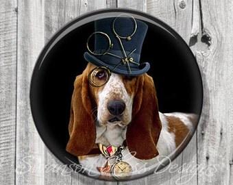 Dog Pocket Mirror - Steampunk Hound Dog Photo Mirror - Compact Mirror - Illustration Image - Gift under 5 - A74