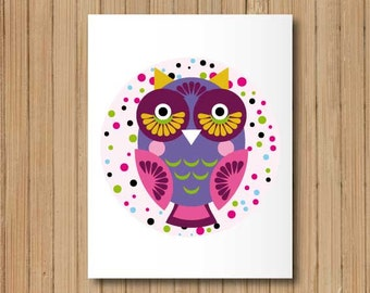 Cartoon Cute Little Owl Digital Collage Sheet  Circle Large Transfer Image Printable Fuchsia Indigo JPG Print Poster 216