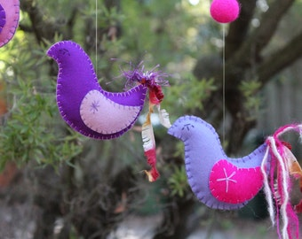 Three Little Birds.Waldorf Steiner inspired bird mobile/nursery decor- in purple & pink wool felt