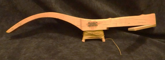 Vintage ice fishing rig wooden fishing pole made by thewildburro