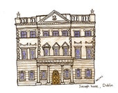 """Dublin, Ireland Drawing Print of Iveagh house , illustration grey blue white wall art home decor - Size A4/ 8,27"""" x 11,7"""" UNFRAMED"""