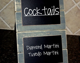 Double Chalkboard Sign - Wedding Sign - Distressed Wood - Gray with Black Chalkboards