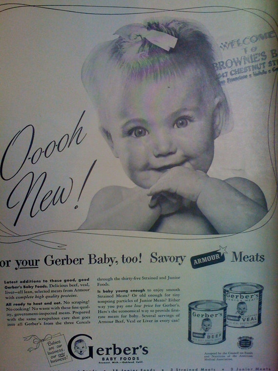 Items Similar To 1930s Original Gerber Baby Food Meats Ad