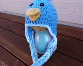 Crocheted Blue Bird Hat- Made to Order- Any Size