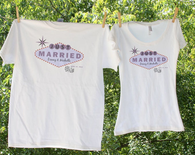 Vegas Inspired Just Married Shirts - with names and date - two shirt set