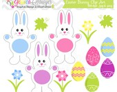 CLEARANCE,  easter bunny clipart - easter clip art - spring graphic - commercial use - easter eggs image - flower art clip