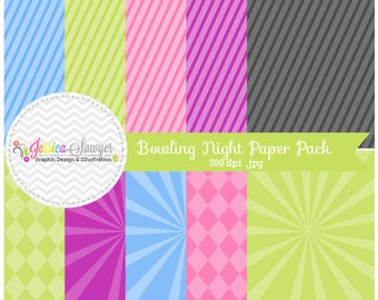 INSTANT DOWNLOAD,  bowling night digital paper pack - starburst background - card making - invitation - printable papers