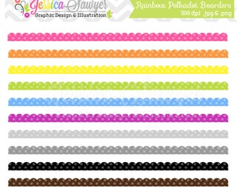 INSTANT DOWNLOAD,  whimsical polkadot rainbow scalloped borders, border clip art, clipart, scrapbook edge, commercial use