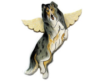 Angel Dog Merle Collie Dog Angel Wooden Wall Hanging