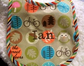 Personalized Baby Feeding Bib - OUTDOORS - Bicycle - Owl - pinkiepetunia