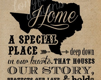 Custom Home State Map Typography Print - Vertical Print