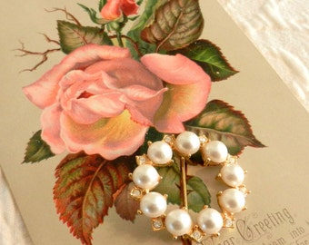 Vintage Pearl and Rhinestone Circle Pin, 1980s, Gift For Her,  Epsteam, Treasury