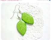 ON SALE, Green leaves earrings, green leaf, leaf earrings, bright, gift for girl