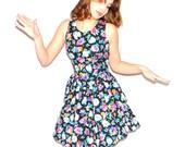Ruffled Cotton Dress. Vintage Day Dress. Flower Print Black Background. Size Small Sundress. 1980s Frock. Summer Dress.