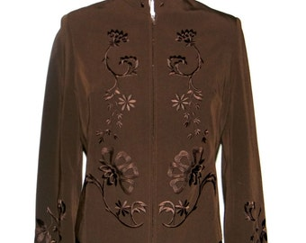 CLEARANCE Sale - Vintage Jacket. Embroidered Brown 1970s Blazer. Size Medium. Mad Men Fashion. Chocolate Brown Blazer.