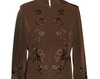 CLEARANCE Sale - Vintage Jacket. Embroidered Brown 1970s Blazer. Size Medium. Mad Men Fashion. Chocolate Brown Blazer.
