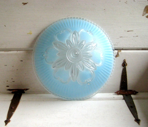 Ceiling Lamp Glass Cover: Vintage Glass Light Cover Turquoise Blue Ceiling Fixture